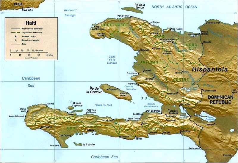 Relief Map Of Haiti Haiti - Physical map of haiti