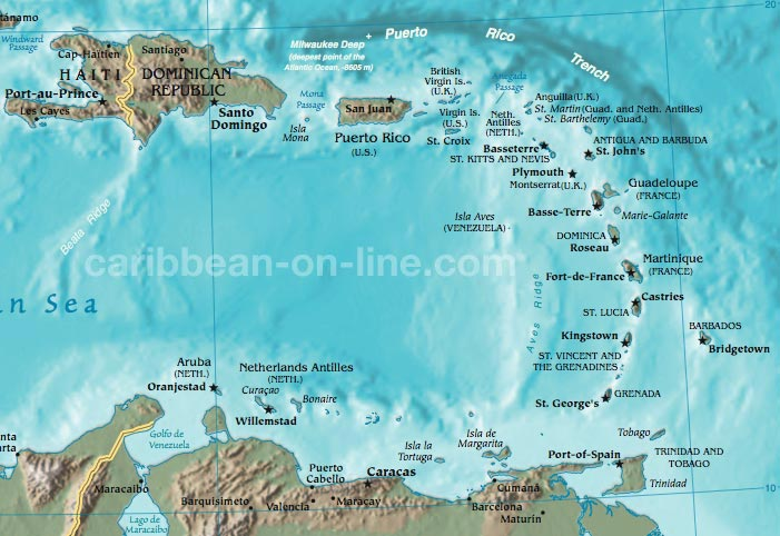 Eastern Caribbean Map - Map of caribbean islands