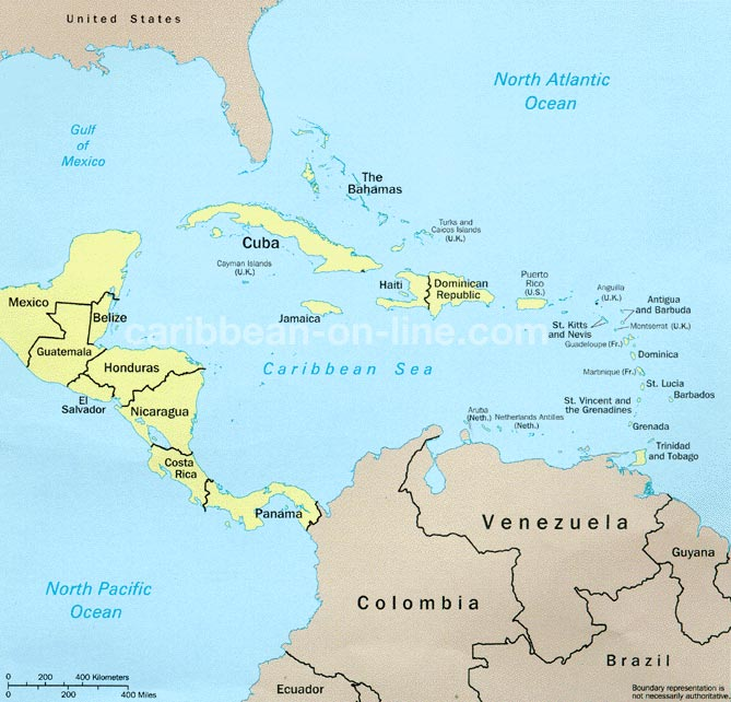Map - Map of caribbean islands