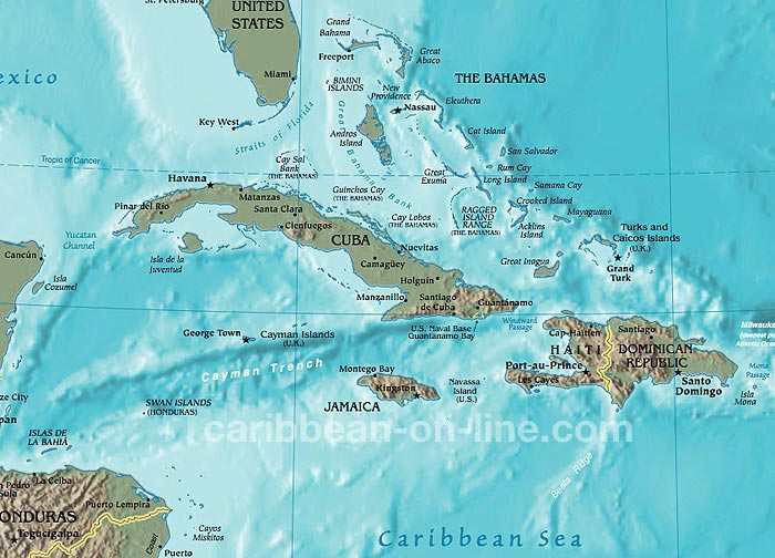 Western Caribbean Map - Map of caribbean islands